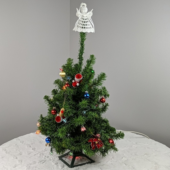 Vintage Small Christmas Tree With Lights Ornaments